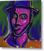 Man In Blue Hat Metal Print
