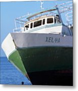 Man Looking Up At A Beached Passenger Ship On Cozumel Island Metal Print