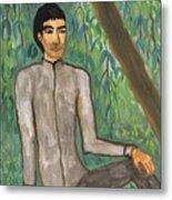Man Sitting Under Willow Tree Metal Print