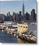 Manhattan From Greenpoint In Winter Metal Print
