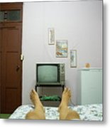Man's Legs On A Bed In Front Of An Old Tv Metal Print