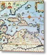 Map Of The Caribbean Islands And The American State Of Florida  Metal Print