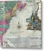 Map Showing The 13 British Colonies Metal Print