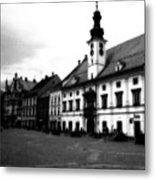 Maribor Square Black And White Metal Print