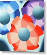 Mark Webster - Abstract Futurist Flowers 2 Oil Painting  Metal Print