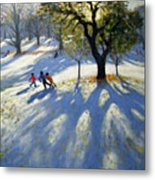 Markeaton Park Early Snow Metal Print