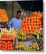 Market Vendor Selling Fruit In A Bazaar Metal Print