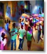 Marketplace At Night Cap Haitien Metal Print by Bob Salo