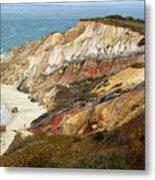 Marthas Vinyard Ocean Cliff Metal Print