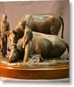 Mary Feilding Smith Praying For Her Ox Bronze Sculpture Metal Print