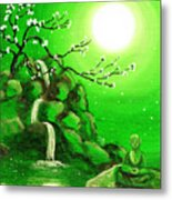 Meditating While Cherry Blossoms Fall In Green Metal Print