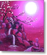 Meditating While Cherry Blossoms Fall Metal Print
