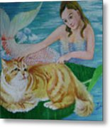 Mermaid And Cat Metal Print