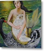 Mermaid And Swan Metal Print