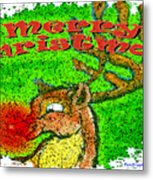Merry Christmas Reindeer Metal Print