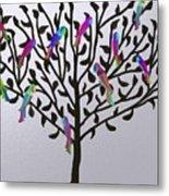 Metallic Parrot Tree Metal Print