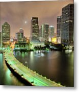 Miami Skyline At Night Metal Print by Steve Whiston - Fallen Log Photography