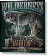 Midnight Wolf Sign Metal Print
