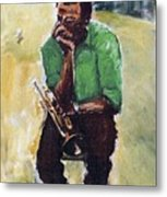Miles Davis With Green Shirt Metal Print
