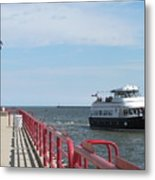 Milwaukee Harbor And Boat Metal Print