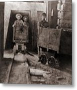 Miners Pushing Ore Carts Metal Print by Everett