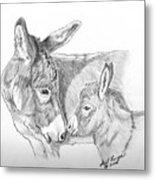 Mini Donkey Mom And Baby Metal Print