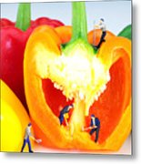 Mining In Colorful Peppers Metal Print