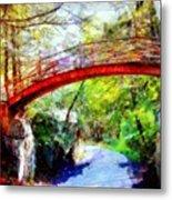 Minnewaska Wooden Bridge Metal Print