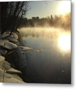 Mississippi River Bank Sunrise Metal Print