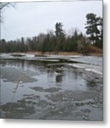 Mississippi River Ice Flow Metal Print