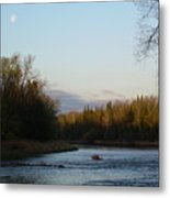 Mississippi River Moon At Dawn Metal Print