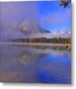 Misty Morning On A Canoe Metal Print