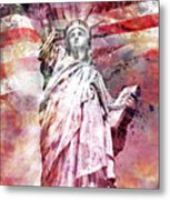 Modern-art Statue Of Liberty - Red Metal Print