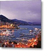 Monaco Harbor At Night Metal Print