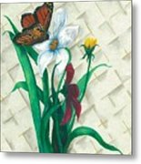 Monarch And Flowers Metal Print