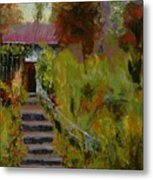 Monet's Garden Cottage Metal Print
