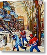 Montreal Hockey Game With 3 Boys Metal Print