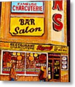 Montreal Paintings Dunns Restaurant Streets Of Montreal Metal Print