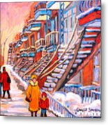 Montreal Winter Walk Metal Print