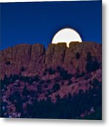 Moon Setting Behind Horsetooth Rock Metal Print by Harry Strharsky