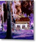 Moonlight Cabin Metal Print
