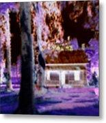 Moonlight Cabin Metal Print