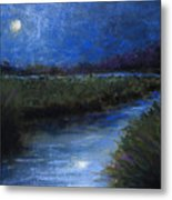 Moonlight Marsh Metal Print