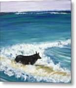 Moonlight Surfer Girl. Metal Print
