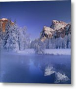 Moonrise Over Gates Of The Valley Yosemite National Park Metal Print