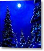 Moonshine On Snowy Pine Metal Print