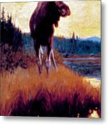 Moose Against Skyline Metal Print
