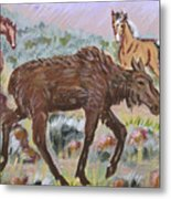 Moose And Horses Animal Vignette From River Mural Metal Print