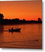 Morning Fishing On The Lake Metal Print