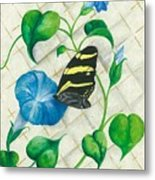 Morning Glories And Butterfly Metal Print